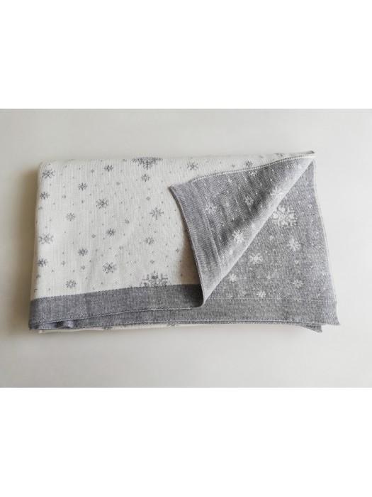 Мериносово одеяло Lambinoo в бяло и сиво - двулицево