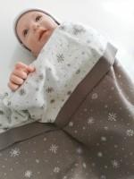 Мериносово одеяло Lambinoo в кафяво и бяло - двулицево
