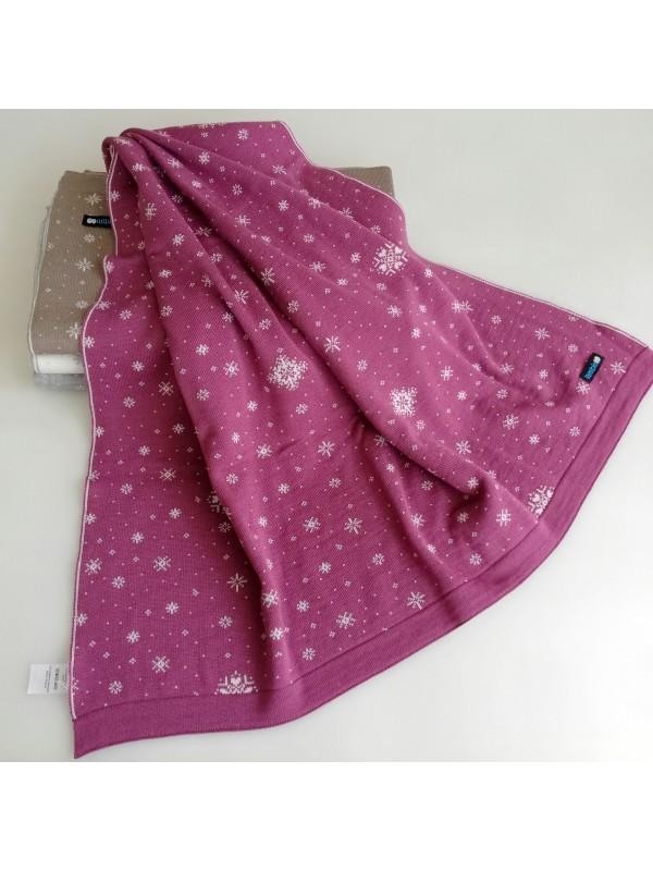 Мериносово одеяло Lambinoo в тъмно и светло розово - двулицево