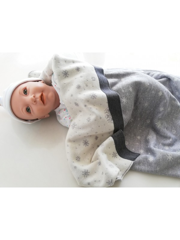 Мериносово одеяло Lambinoo в сиво и бяло - двулицево